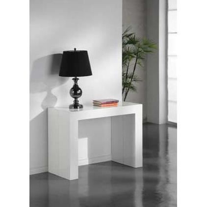 Table console extensible laqu e blanche rallonge achat for Table blanche a rallonge