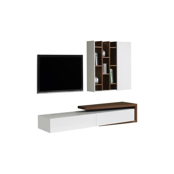 Composition design meuble tv noyer tag res achat - Meuble etagere design ...