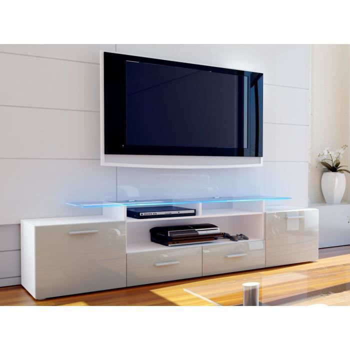 meuble tv blanc et sable gris 194 cm achat vente. Black Bedroom Furniture Sets. Home Design Ideas