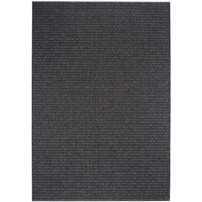 39 benuta tapis d 39 39 ext rieur tapis grace plain noir 80x150 cm 39 achat vente tapis cdiscount. Black Bedroom Furniture Sets. Home Design Ideas