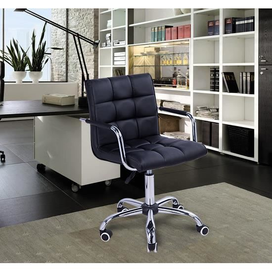 chaise de bureau fauteuil pivotante achat vente chaise de bureau noir cdiscount. Black Bedroom Furniture Sets. Home Design Ideas