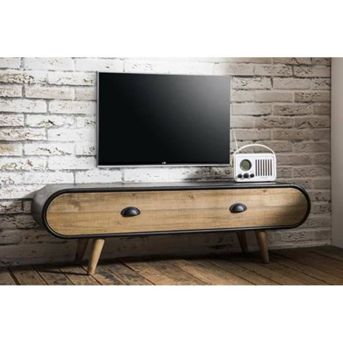 meuble tv au style industriel klaus en ch ne vintage achat vente meuble tv meuble tv au. Black Bedroom Furniture Sets. Home Design Ideas