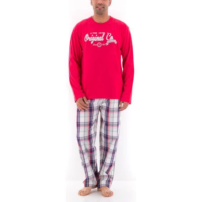 Pyjama long homme pure colors ii rouge carreaux rouge for Pyjama homme carreaux