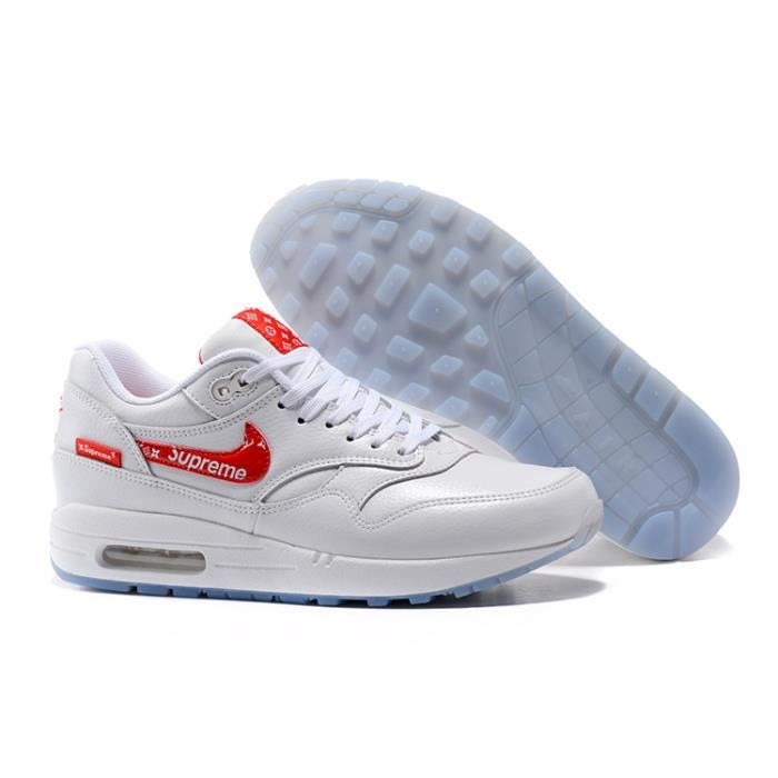 Baskets Supreme x Nike Air Max 1 Premium Chaussures Blanc