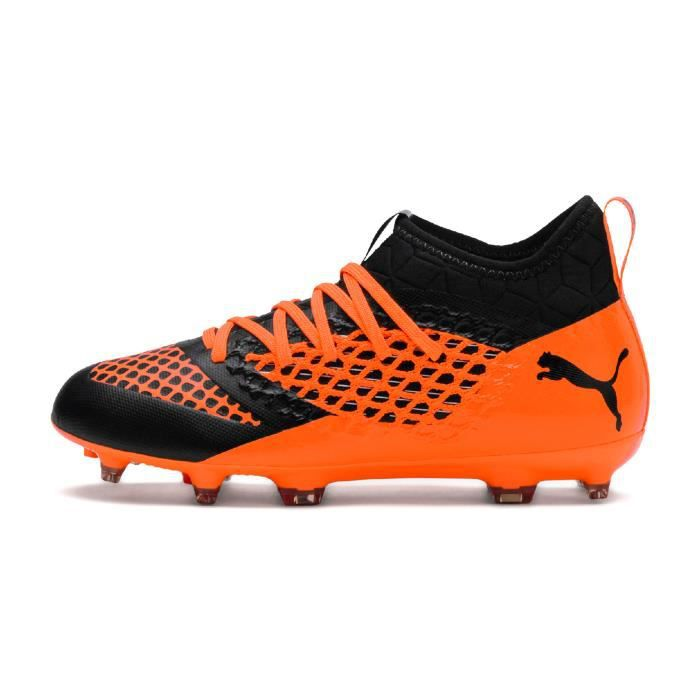 7a0e2d989ed78 Chaussures football Puma Future 2.3 Netfit FG-AG Orange-Noir Junior ...