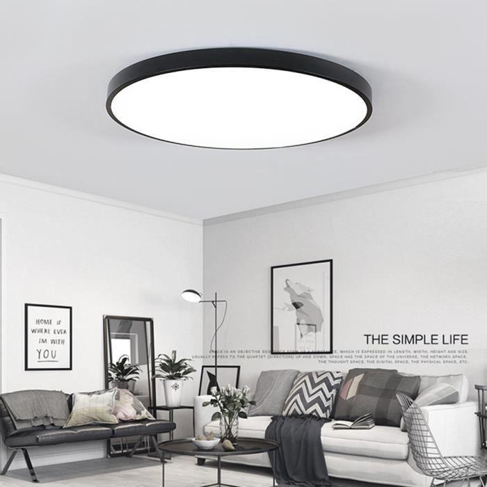 NEUFU LED Plafonnier Moderne Lampe de plafond-Noir 23CM-Rond-ultra-mince  5cm pour Intérieur Salon Salle De Bains Chambre