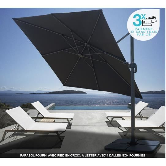 parasol d port carr noir 3x3 m rotatif aluminium achat. Black Bedroom Furniture Sets. Home Design Ideas