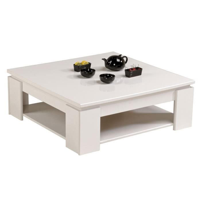 table basse carr e blanc quadal achat vente table. Black Bedroom Furniture Sets. Home Design Ideas