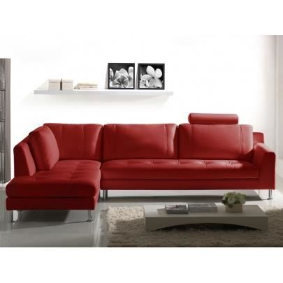 canap d 39 angle en cuir olivia rouge angle gauc achat vente canap sofa divan cuir. Black Bedroom Furniture Sets. Home Design Ideas