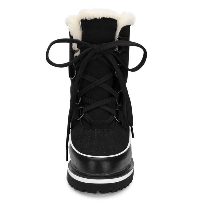 Fleece Lining Lace Up Snow Boots EZC2H Taille-39