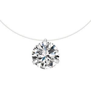 choker pour femme en argent 925 Boucles doreilles de diamant Ensembles de bijoux en diamant Cadeau de No/ël et Anniversaire Collier ras-du-cou avec ligne de p/êche invisible