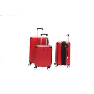 SET DE VALISES LYS - Set de 3 Valises Rouge Rigide ABS 4 Roues do
