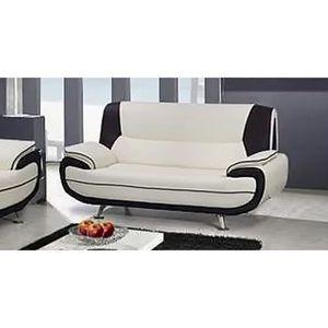 CANAPÉ - SOFA - DIVAN MUZA - Canapé design 2 places en simili cuir blanc