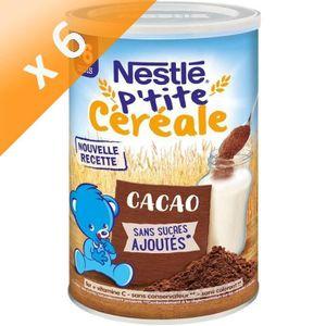 CÉRÉALES BÉBÉ [LOT DE 6] NESTLÉ P'tite Céréale Cacao - 400 g - D