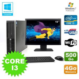 UNITÉ CENTRALE + ÉCRAN Lot PC HP Elite 8200 SFF Core I3 3.1GHz 4Go 500Go