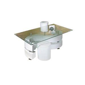 TABLE BASSE Table basse salon rectangulaire tabourets desig…