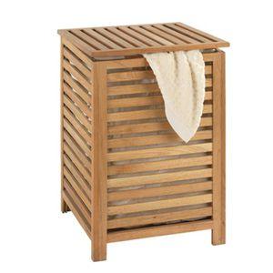 PANIER A LINGE Coffre à linge avec sac à linge en bois - Dim : 45