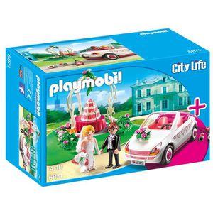 Figurine décor gâteau Playmobil 6871 - Couple De Maries Avec Véhicule RC