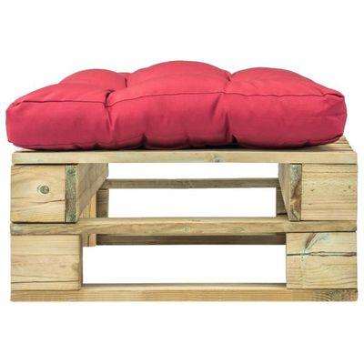 Dealpark Repose-pied de jardin vert en bois avec coussin rouge pour Salon  de Jardin 60 x 60 x 35 cm
