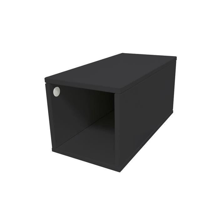 Cube de rangement bois largeur 25 cm - Couleur - Noir, Dimensions - 25x50