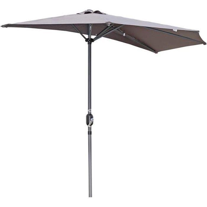 Angel Living 270cm Demi-parasol Pour Balcon ou Jardin,Plage,IP50+ (Gris)