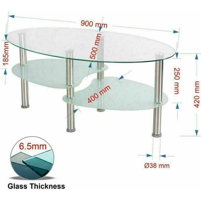 Table Basse en Verre Métal blanche Table de Salon Transparent pour Salon, Bureau - 90*50*43cm