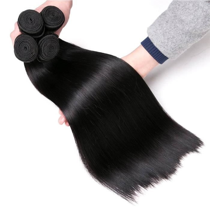 tissage bresilien en lot 4 paquets cheveux naturel brésilienne tissage bresilien lisse total 400g 10 12 14 16 pouce