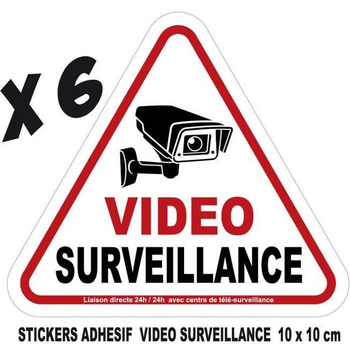 adhesif stickers vidéosurveillance video surveillance camera autocollant 10x10 cm lot 6 stickers