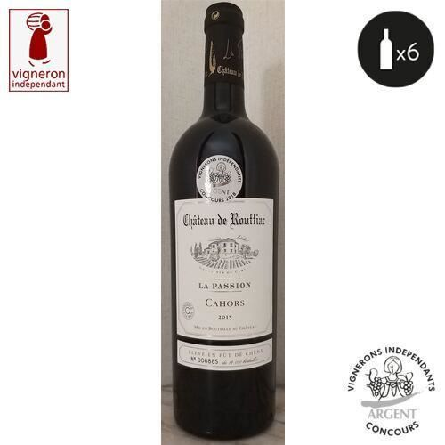 6 bouteilles - Vin rouge - Tranquille - Château de Rouffiac La Passion Élevé en fût de chêne Cahors Rouge 2015 6x75cl