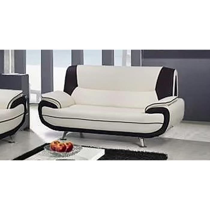 MUZA - Canapé design 2 places en simili cuir blanc et noir