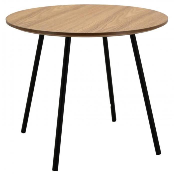 Table basse ronde en bois naturel pieds en métal