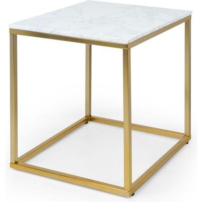 Besoa White Pearl 1 Table basse de salon 50 x 50 x 50 cm (LxHxP) - Pieds réglables en hauteur - Design Marbre doré - Blanc