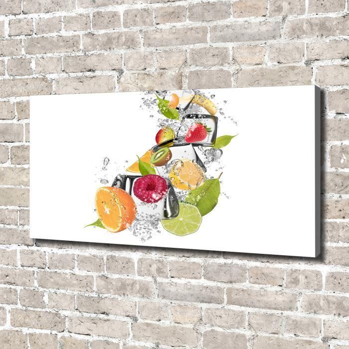 Tulup 140x70 cm art mural - Image sur toile:- Nourriture boissons - Fruit Avec De La Glace - Multicolore Vert