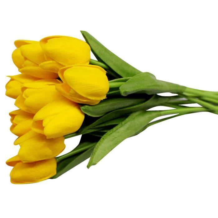 Bouquet de fleurs artificielles 1 pièce, Fleurs artificielles pour tulipe, fleurs décoratives pour maison, fleurs - Jaune