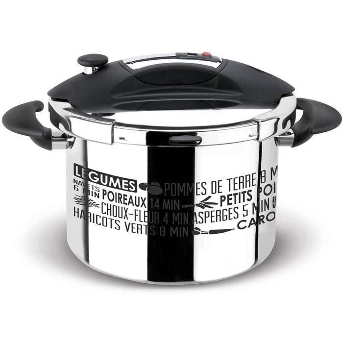 Sitram 711937, Autocuiseur Sitraspeedo -Inox 18/10 haute qualité -cuve sérigraphiée, couvercle noir, panier vapeur en inox, minuteur