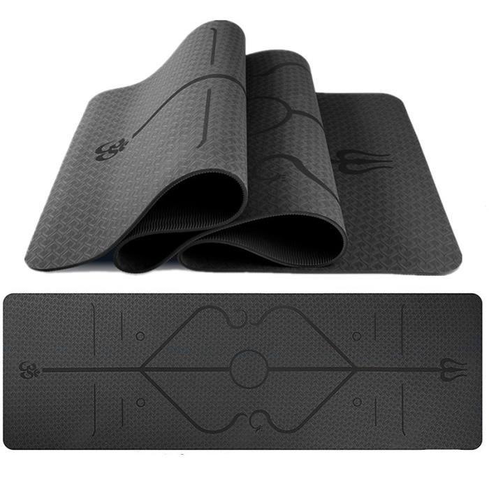 Tapis de Yoga Antidérapant, Epais 6 mm, Ecologique et Non Toxique en TPE avec des repères d'alignement du Corps - Taille: 183x61xcm