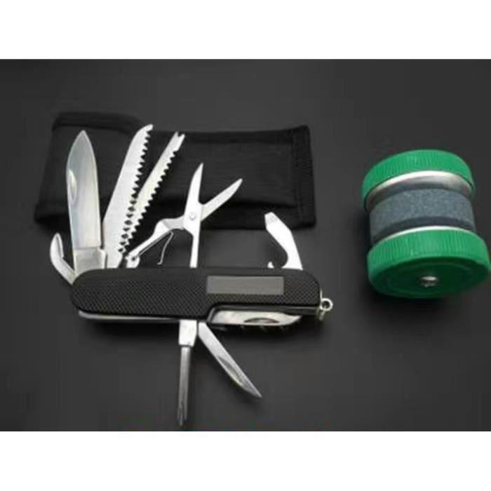 1 Couteau de Poche Multifonctions de Style Suisse avec un Pierre à aiguiser
