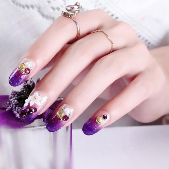 MOR 24 pièces fleur naturelle sculptée longue taille faux ongles couleur pourpre faux ongles femmes nouvelle mode ongles Art
