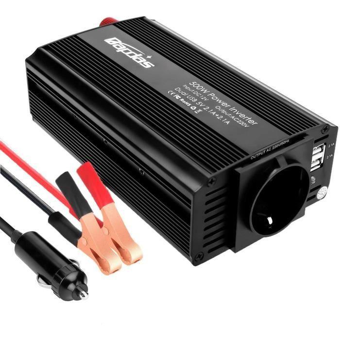 Bapdas 500W Convertisseur Transformateur DC 12V AC 220V-240V, Ports USB Dual 5V - 2.1A Corps en Aluminium avec Attaches de Batt[14]