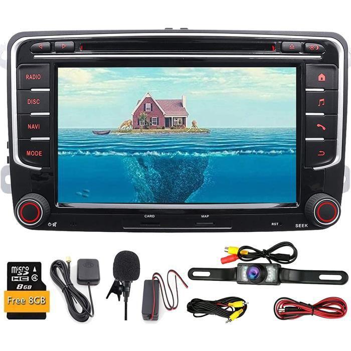 Autoradio GPS 2 din 7- Radio, stéréo, lecteur DVD, navigation, Bluetooth, écran tactile, caméra de recul Pour Volkswagen