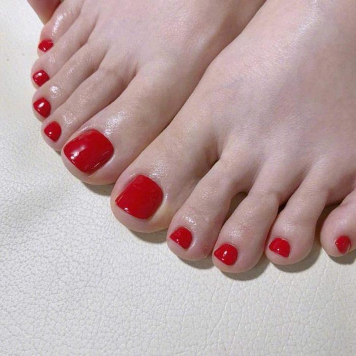 Faux ongles Yienate Lot de 24 faux ongles pour orteils Rouge chic126