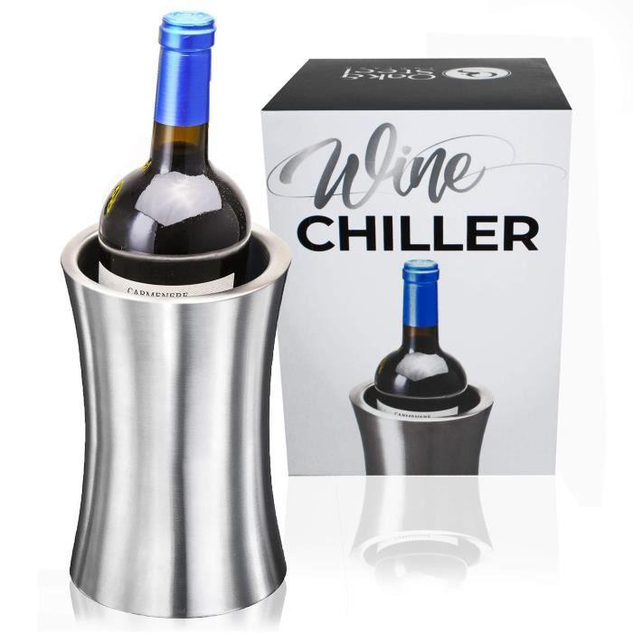 Rafraîchisseur Bouteille de Vin, Premium Acier Inoxydable - Élégant Argent - Refroidisseur de vin à Double Paroi - Gardez Votre Vin
