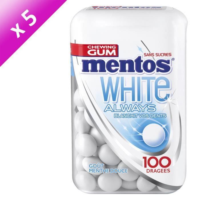 [LOT DE 5] MENTOS GUM WHITE ALWAYS Bottle de 100 dragées sans sucres - Menthe douce