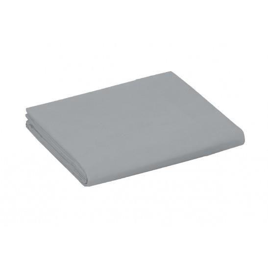 Drap Plat 2 Places 240 x 300 cm Uni - 100 % Pur Coton très doux 57 fils/cm2 - GRIS CLAIR