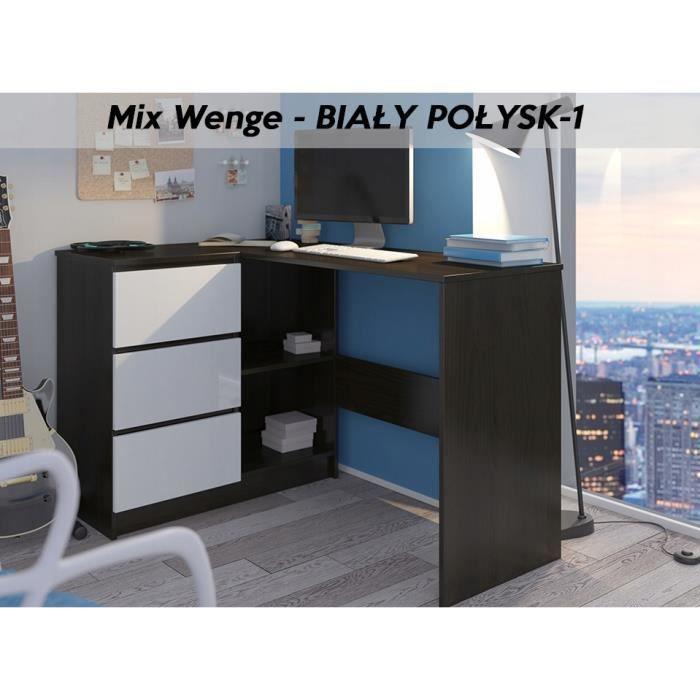 KIAN W - Bureau d'angle 3 tiroirs - 112x87x76 - Table d'ordinateur forme de L - Table de travail - Wengé-Blanc