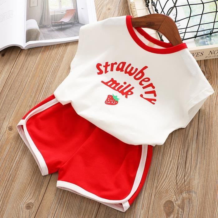 Ensemble de survêtement pour tout-petits enfants bébés filles lettre t-shirt fraise shorts tenues