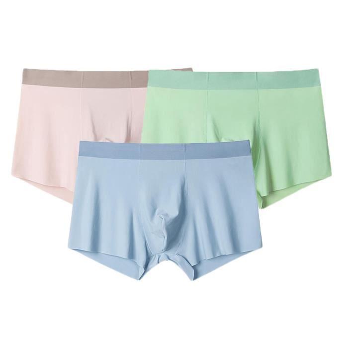 Caleçons Homme Sous-Vêtement Fitted Trunk Caleçons Ultra Doux Confortable Underwear Sporty Retro Pants Avec Pochette,B,XL(Lot de 3)