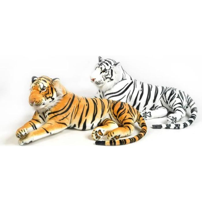 Grand tigre en peluche 136 cm Blanc