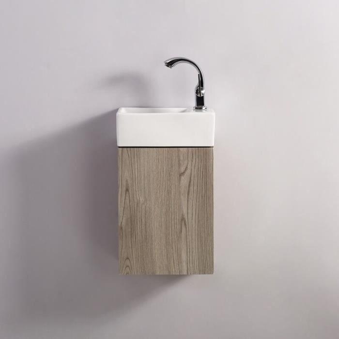 Meuble Lave main - Blanc et Chêne Gris - Scandinave - 30x18 cm - Essento