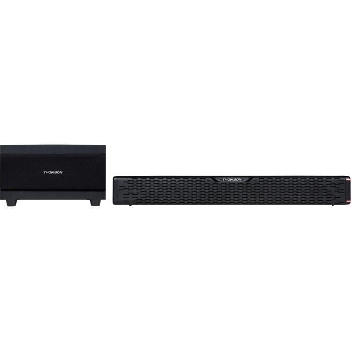 THOMSON SB60BTS - Barre de son sans fil avec caisson de basses - Bluetooth 5.0 - Système stéréo - 60W - Fixation murale - Noir